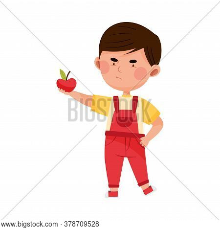 Little Boy Character Showing Dislike Towards Apple Vector Illustration