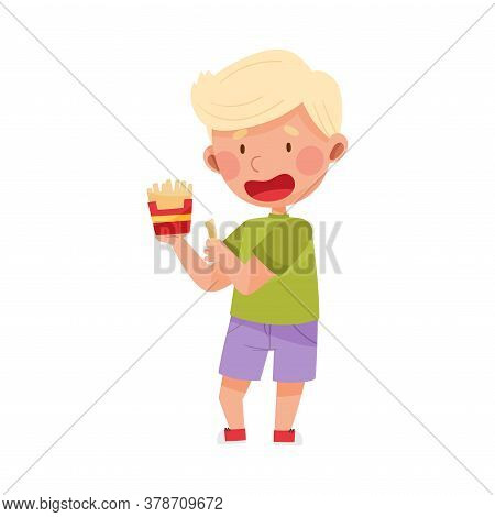 Little Boy Character Showing Like Towards French Fries Vector Illustration