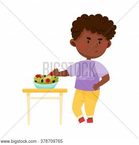 Unhappy African American Boy Character Showing Dislike Towards Vegetable Salad Vector Illustration
