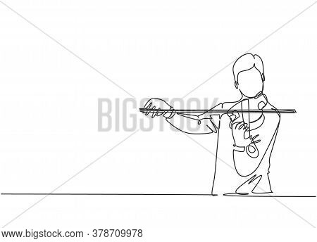 One Single Line Drawing Of Male Violinist Performing To Play Violin On Music Festival. Trendy Musici