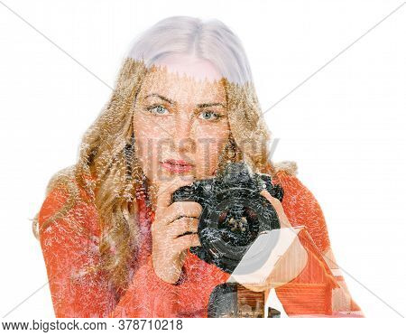 Young Woman Photographer With Camera On Tripod, Double Multiple Exposure Effect,combined Images