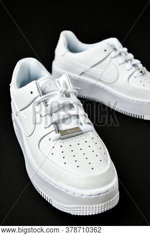 Zhytomyr, Ukraine - June 1, 2020: Nike Air Force 1 Sage White Sneakers Product Shot On Black Backgro