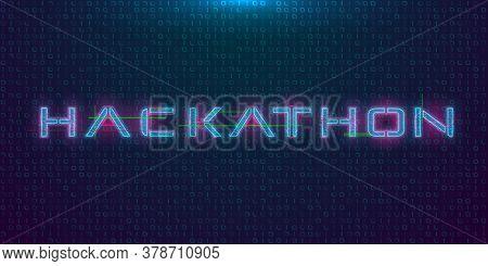 Hackathon Hud Hologram Cyberpunk Style Banner. Neon Tech Hackathon Glitch Inscription On Dark Backgr