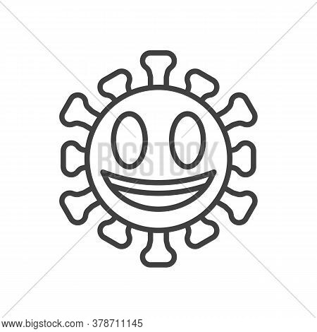 Grinning Face With Big Eyes Line Icon. Linear Style Sign For Mobile Concept And Web Design. Smiling
