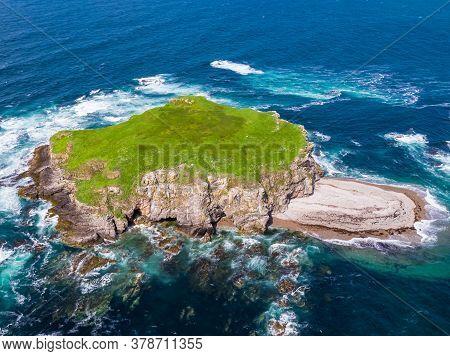 Aerial Of Glashedy Island , An Uninhabitated Island West Of Trawbreaga Bay - Donegal, Ireland