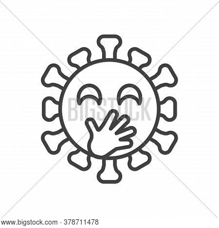 Virus Face With Hand Over Mouth Line Icon. Linear Style Sign For Mobile Concept And Web Design. Coro