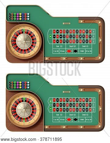Top View Of American And European Roulette Table With Chips And Roulette Wheel Isolated On White Bac