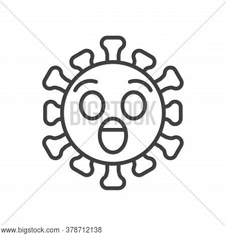 Virus Astonished Face Line Icon. Linear Style Sign For Mobile Concept And Web Design. Surprised Coro