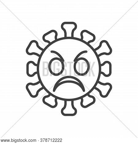 Angry Virus Face Line Icon. Linear Style Sign For Mobile Concept And Web Design. Angry Coronavirus E