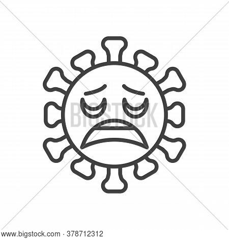 Virus Weary Face Line Icon. Linear Style Sign For Mobile Concept And Web Design. Coronavirus Tired E