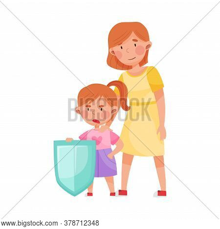 Cute Girl Character Standing With Shield Against Injustice Vector Illustration