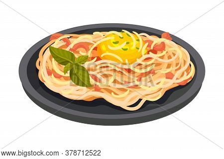 Spaghetti With Meat As Italian Cuisine Dish Vector Illustration