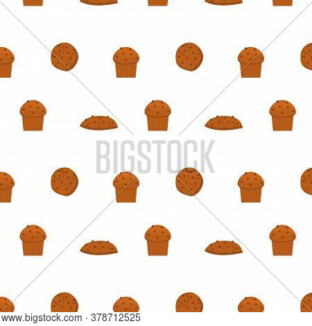 Seamless Pattern With Different Types Of Pastries And Delicious Baked Products On White Background.