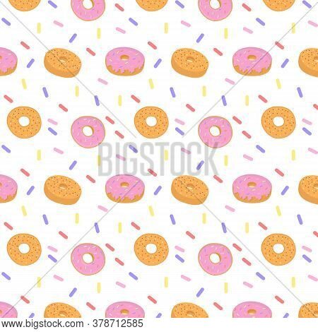 Pattern Of Sweet Colorful Donut Or Bagel. Seamless Pattern Of Different Types Of Colorful Donuts Wit