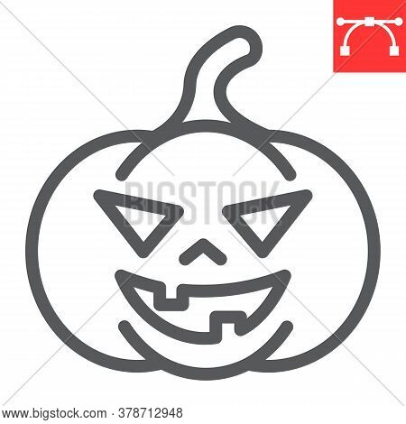 Halloween Pumpkin Line Icon, Halloween And Scary, Pumpkin Sign Vector Graphics, Editable Stroke Line