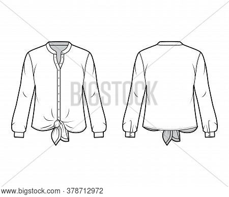 Shirt Technical Fashion Illustration With Curved Mandarin Stand Collar, Long Sleeves, Tie Hem, Overs
