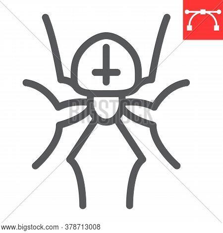 Spider Line Icon, Halloween And Scary, Arachnid Sign Vector Graphics, Editable Stroke Linear Icon, E