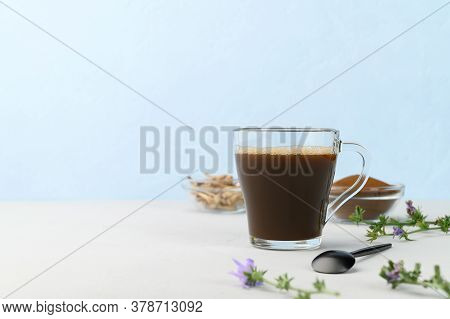 Alternative To Coffee. Healthy Drink Chicory. Chicory Coffee In A Cup On A Light Gray Table. Space F