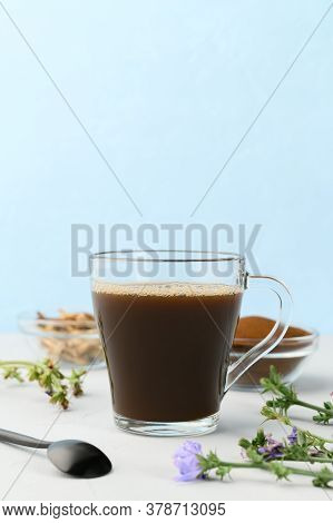 Alternative To Coffee. Healthy Drink Chicory. Chicory Coffee In A Glass Cup On A Light Gray Table. C