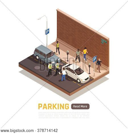 Wrong Parking In City Street Isometric Composition With Police Officers Handing Penalty Note To Driv