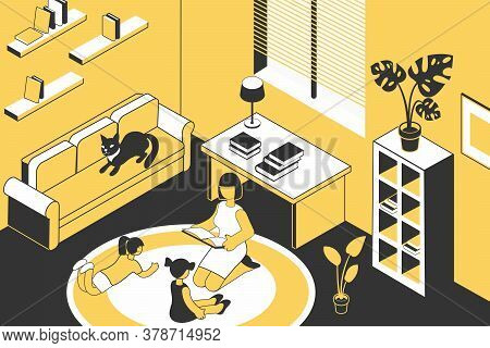 Read Book Family Isometric Composition With Home Scenery And Mother Reading Book For Two Young Child