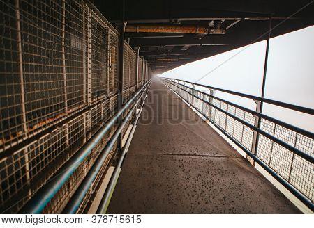 Pedestrian Part Of The Bridge With Metallic Balustrade