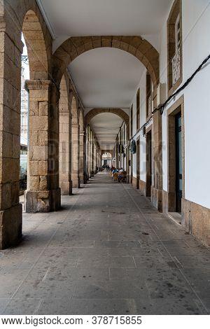 Corunna, Spain - July 20, 2020: View Of Maria Pita Square. Corunna Is Famous Touristic City Of Galic