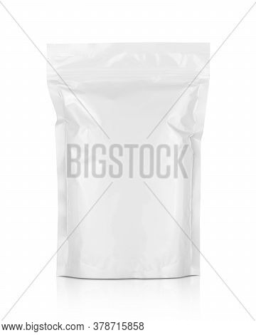Blank Packaging White Aluminum Foil Zipper Pouch Isolated On White Background With Clipping Path Rea