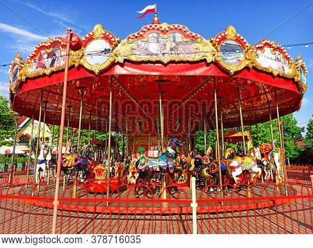Sochi, Russia June 2020. Attraction In Sochi Park. Childrens Carousel With Horses. Olympic Park. Qua