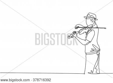 Single Continuous Line Drawing Of Young Happy Male Violinist Wearing A Hat And Performing To Play Vi