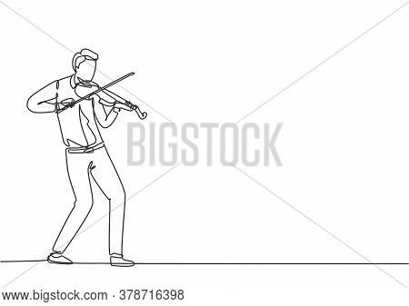 One Single Line Drawing Of Young Happy Male Violinist Performing To Play Violin On Music Concert. Mu