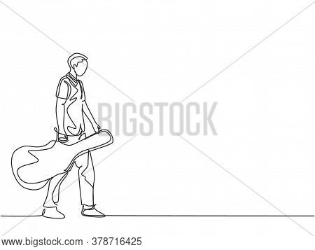 One Single Line Drawing Of Young Male Guitarist Walking While Carrying Acoustic Guitar Leather Case