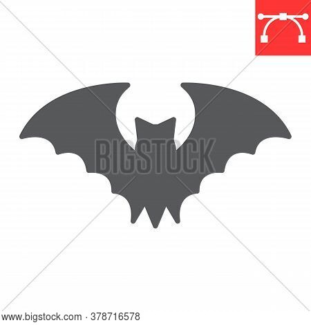 Bat Glyph Icon, Halloween And Scary, Bat Sign Vector Graphics, Editable Stroke Solid Icon, Eps 10.