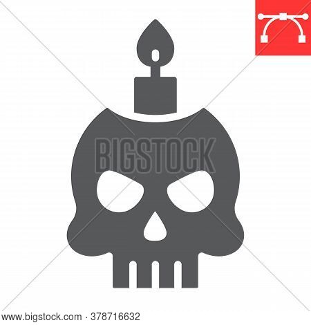 Skull With Candle Glyph Icon, Halloween And Scary, Halloween Skull Sign Vector Graphics, Editable St