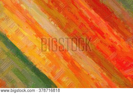 Green, Yellow And Red Stripes Bristle Brush Abstract Paint Background.