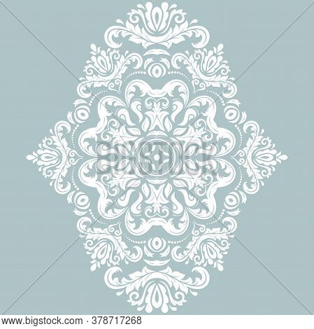 Oriental Vector White Pattern With Arabesques And Floral Elements. Traditional Classic White Ornamen