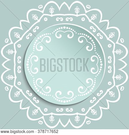 Round Vector Frame With Floral Elements And Arabesques. Light Blue And White Pattern With Arabesques