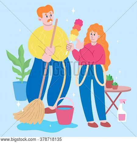 Happy Father And Daughter Teenager Activity. Housework With Father. Single Father, One Parent Family