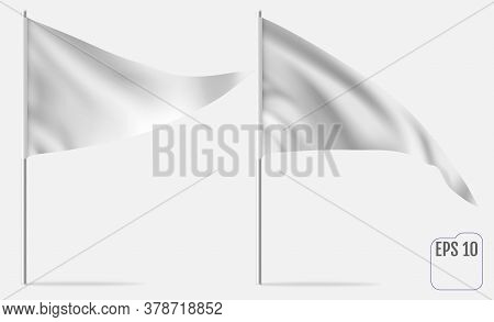Realistic Pennant Template. Vector Triangle Flag Mockup