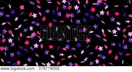 Pink, Blue Gradient Flying Stars Confetti Isolated On Black. Luxury Shiny Little Random Stellar Fall