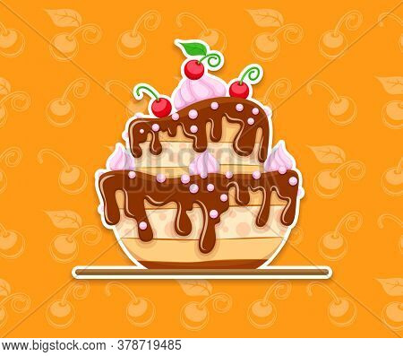 Sponge cake cake dessert with sweet chocolate glaze and cream with red cherries. Seamless background with berries. 3D illustration.