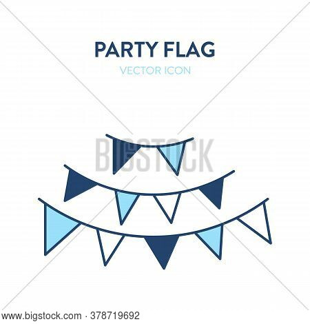 Party Flags Icon. Vector Illustration Of A Colorful Holiday Party Flags Hanging On A Rope. Represent