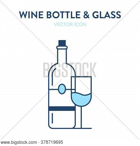 Wine Bottle And Glass Icon. Vector Ilustration Of Sealed Wine Bottle With Cork And Glass Filled With