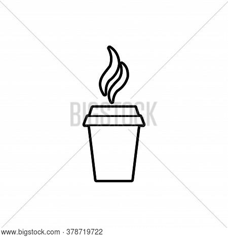 Coffe Outline Vector. Coffe Cup Icon Isolated On White Background