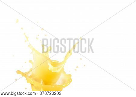 Orange Juice Splash Concept. Light Yellow Color. Drop Levitation. Sweet Fruit. Liquid Beverage. Heal
