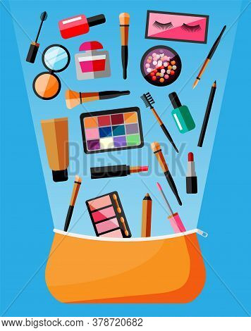 Makeup Collection In Bag. Set Of Decorative Cosmetics. Make-up Store. Various Brushes, Perfume, Masc