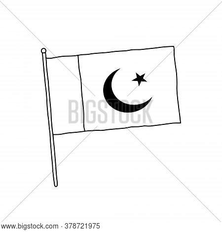 Pakistan Flag Vector, Outline Illustration. Vector Black And White Pakistan Flag.