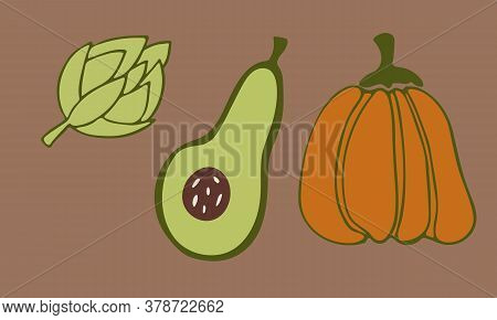 Vector Doodle Illustration Of Pumpkin, Avokado And Artichoke. Hand Drawn Healthy Farm Vegetable Isol