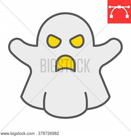 Ghost Color Line Icon, Halloween And Scary, Ghost Sign Vector Graphics, Editable Stroke Filled Outli