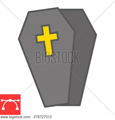 Coffin Color Line Icon, Halloween And Scary, Casket Sign Vector Graphics, Editable Stroke Filled Out